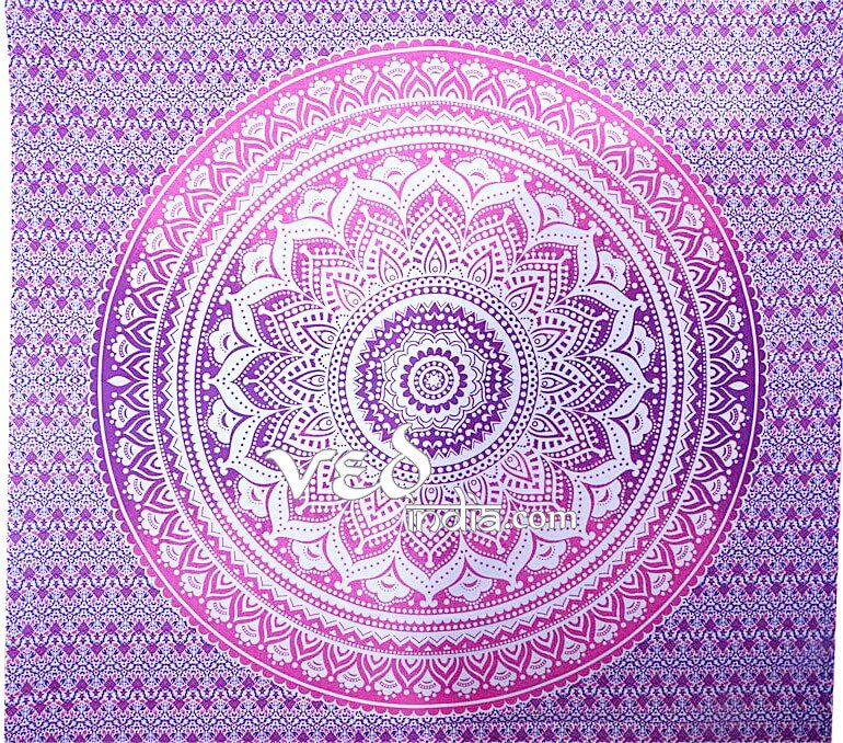 Cheap Hippie Wall Hanging Tapestry Bed Throw Pink Purple Ombre -3923