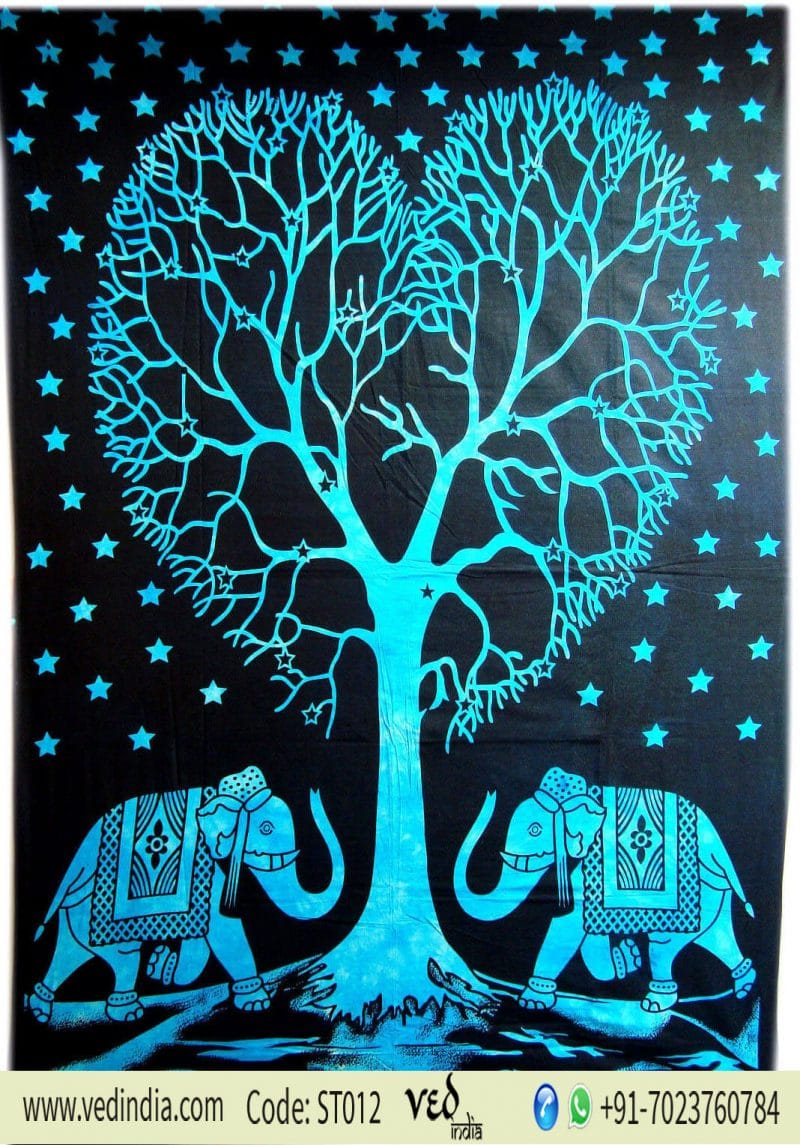 Blue Elephant Love Tree Tapestry Wall Hanging in Twin Size-0