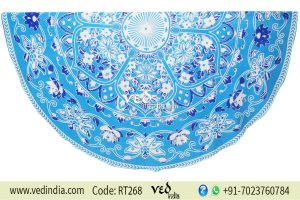 Blue Floral Round Mandala Beach Throw Towel -0
