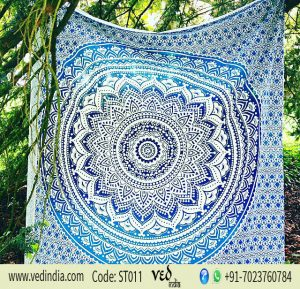 Twin Blue Ombre Hippie Mandala Tapestry | Bohemian Wall hangings-0