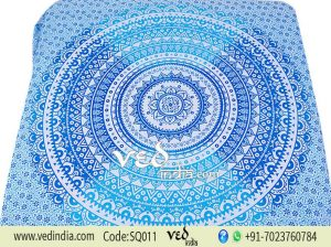 King and Queen Size Blue Ombre Mandala Tapestry Bedding-0