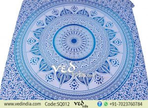 Blue Ombre Mandala Tapestry Bohemian Bedding-0