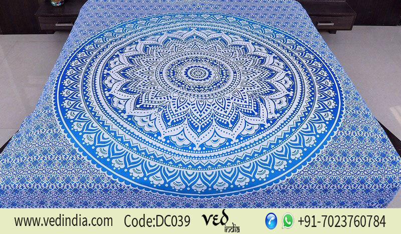 Bohemian Bedding Duvet Cover in Blue Ombre Design | Indian Quilt Set-0