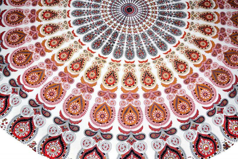Bohemian Circle Beach Towel Peafowl Design | Round Tapestry Online-3877