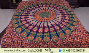 Bohemian Mandala Quilt Cover Bedding Set with Peafowl Design-0