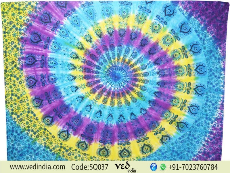 Bohemian Mandala Tapestries Queen Peacock Bedcover Bedspread -0