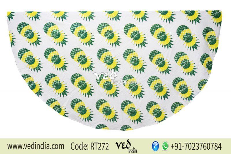 Pineapple Bohemian Round Roundie Beach Throw Tapestry-0