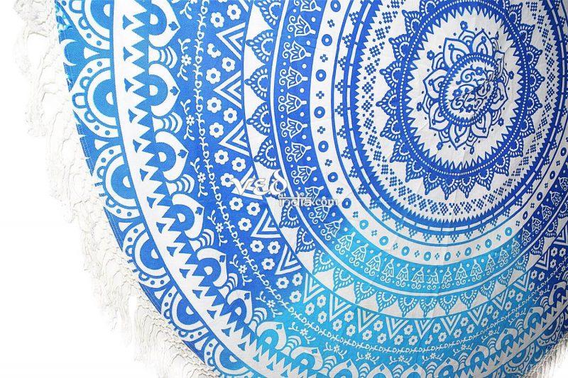 Boho Beach Round Throw Towel Blue Ombre Design-3887