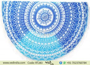 Boho Beach Round Throw Towel Blue Ombre Design-0
