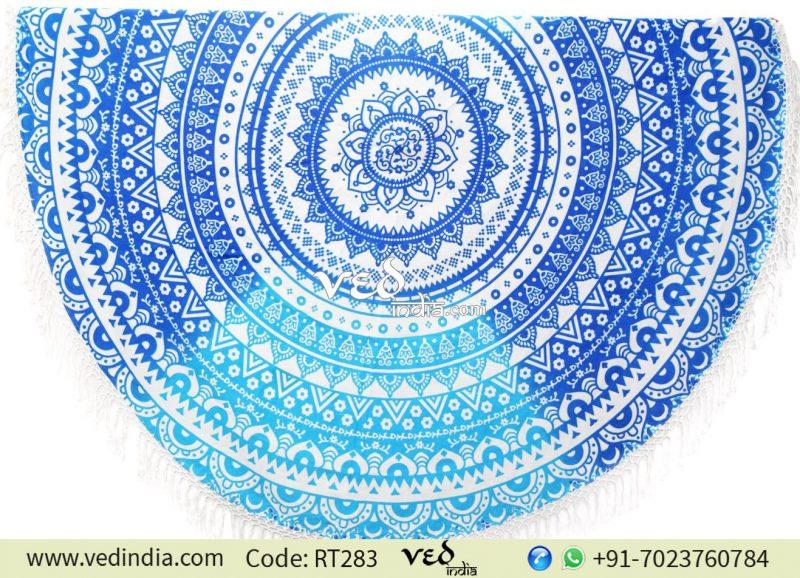 Boho Beach Round Throw Towel Blue Ombre Design-0