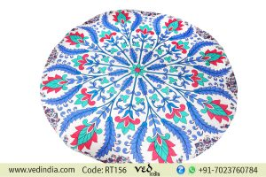 Floral Mandala Indian Round Beach Tapestry Tablecloth-0