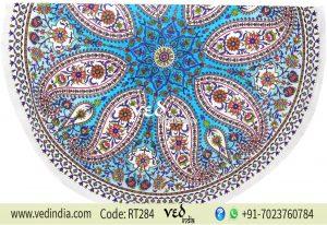 Floral Round Beach Blanket Bohemian Tassel Tapestries-0