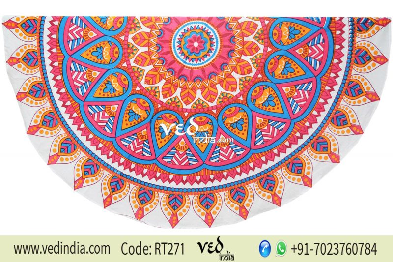 Floral Round Mandala Tapestry Roundie Beach Throw-0