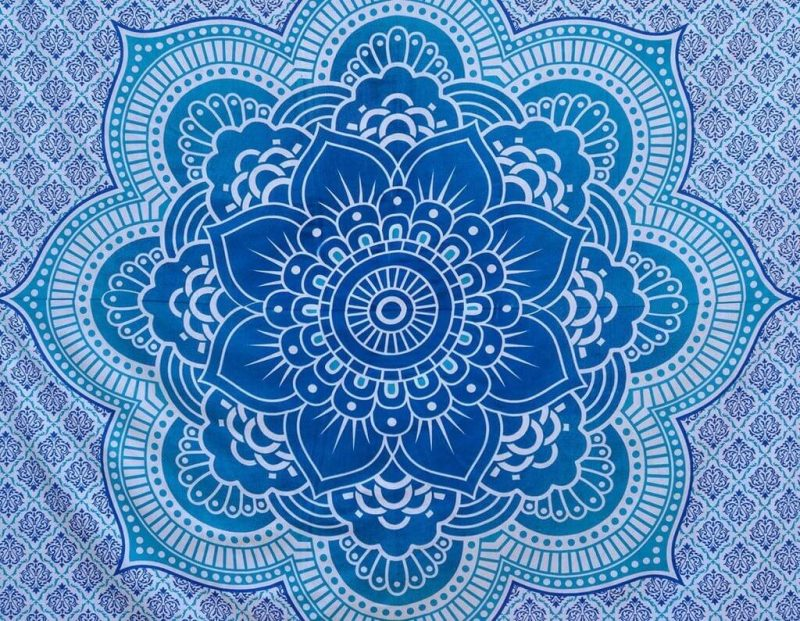 Indian Lotus Flower Tapestry Wall Hanging Blue Color-3961