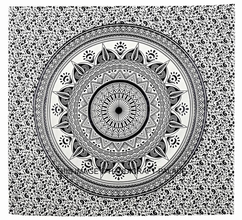 Omber Hippie Bohemian Bedding Tapestry Black and white-3955