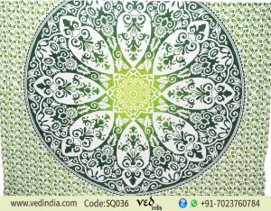 Vegetable Dye Block Print Hippie Boho Tapestry Green Floral -0