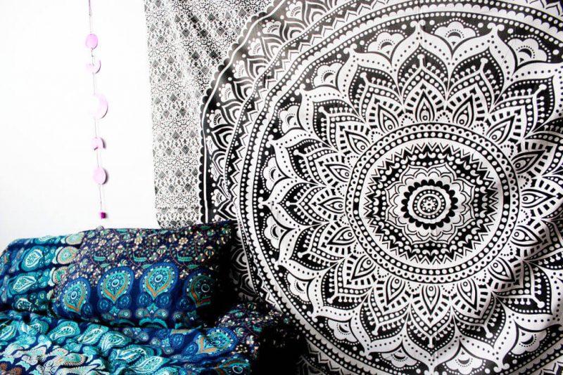 Hippie Trippy Black & White Ombre Mandala Tapestry Bedspread -3934