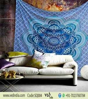 Indian Lotus Flower Tapestry Wall Hanging Blue Color-0