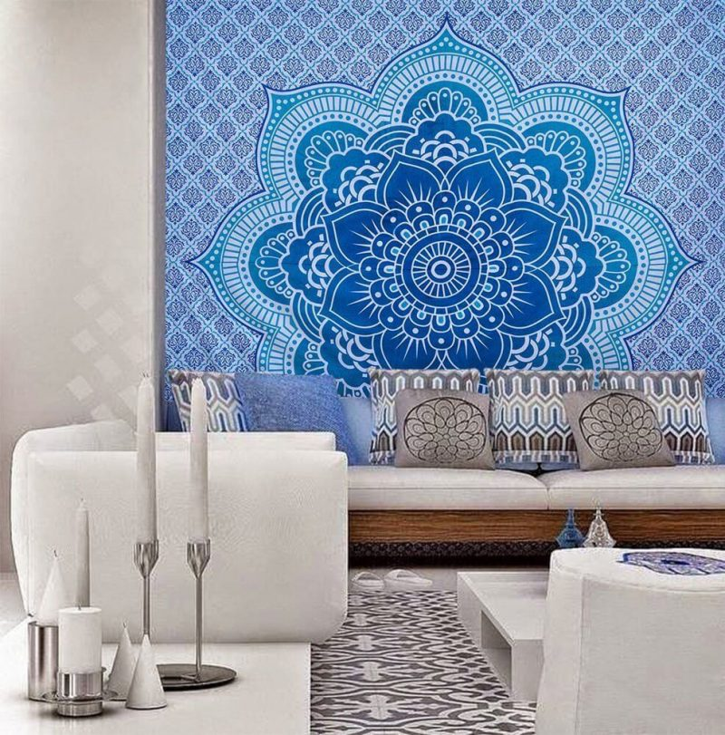 Indian Lotus Flower Tapestry Wall Hanging Blue Color-3962