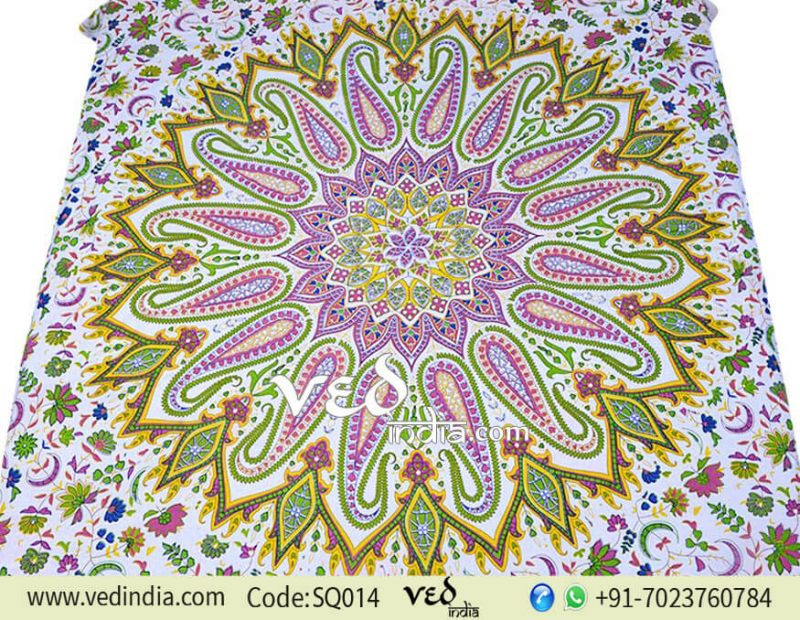 Indian Mandala Tapestry Bed Throw with Colorful Design -0