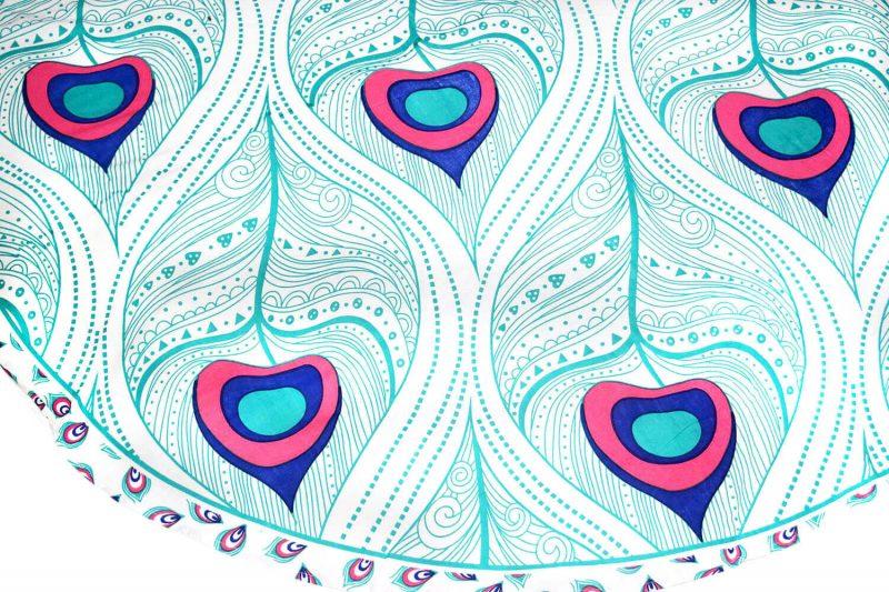 Indian Peacock Roundie Mandala Tapestry Beach Blanket-3873