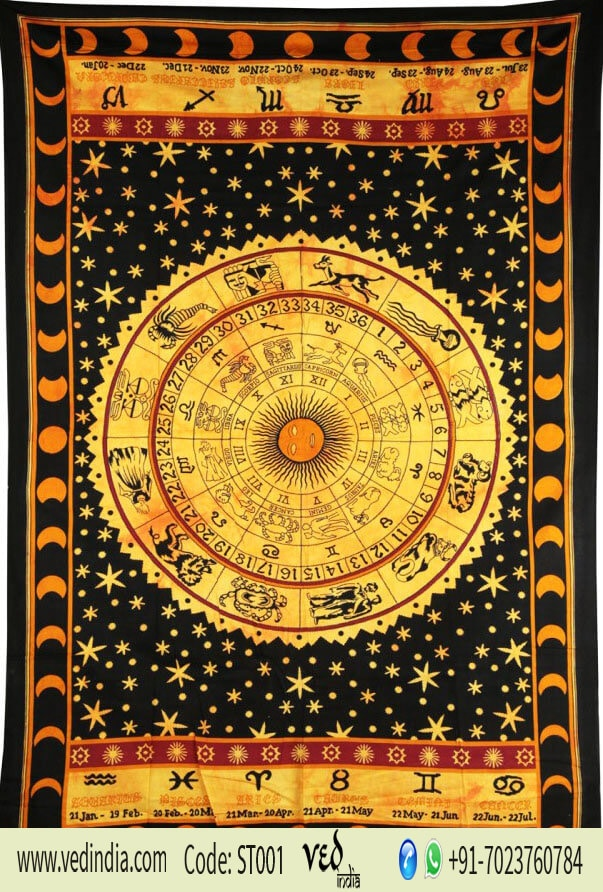Indian Zodiac Horoscope Tapestry Twin Size Wall Hanging -0