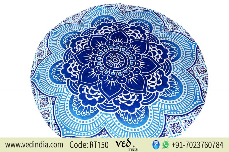 Large Round Lotus Flower Mandala Beach Blanket Tapestry-0