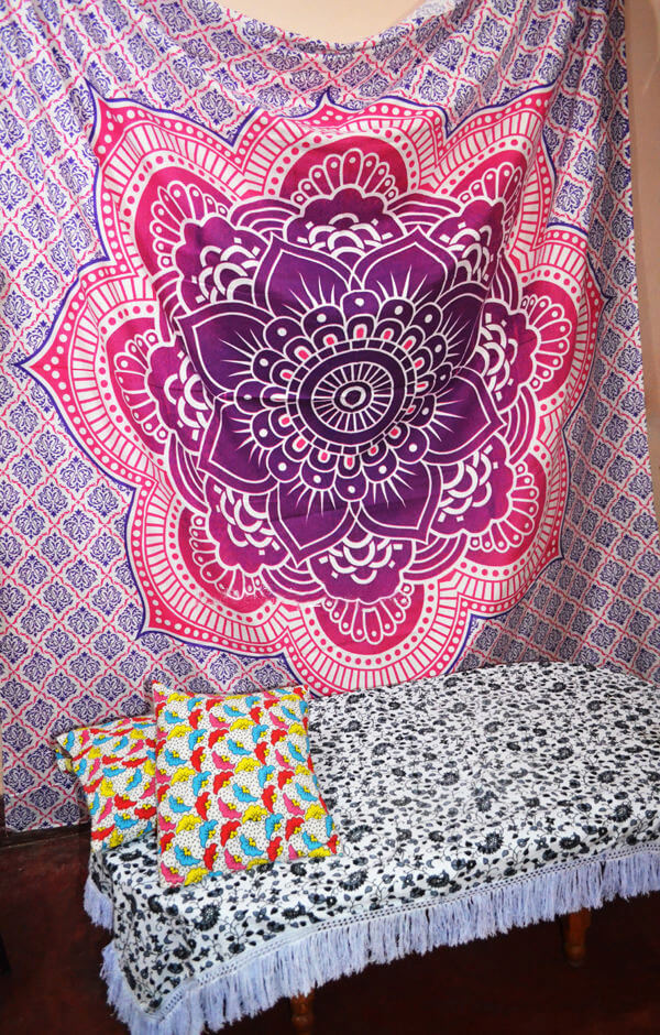 Lotus Flower Mandala Wall Tapestry King Queen Size Bed Sheet-3957
