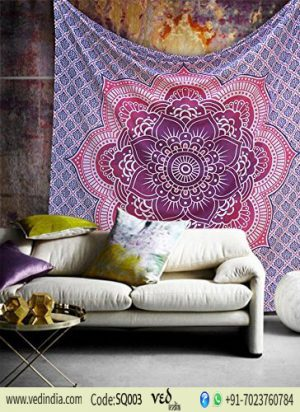 Lotus Flower Mandala Wall Tapestry King Queen Size Bed Sheet-0