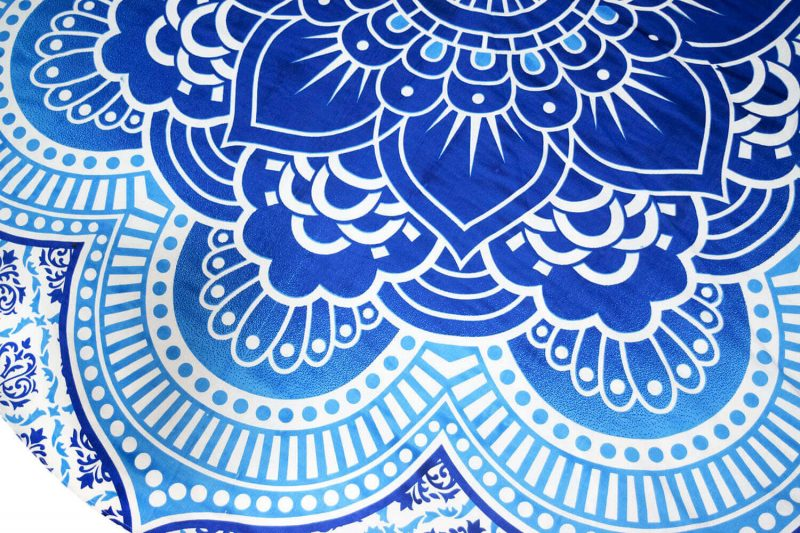 Large Round Lotus Flower Mandala Beach Blanket Tapestry-3872