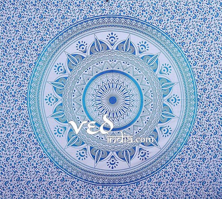 Blue Ombre Mandala Tapestry Bohemian Bedding-3907