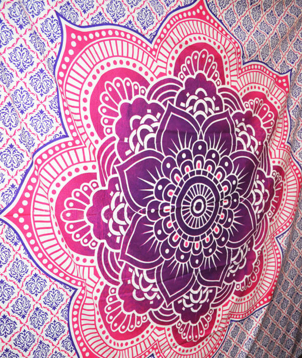 Lotus Flower Mandala Wall Tapestry King Queen Size Bed Sheet-3959