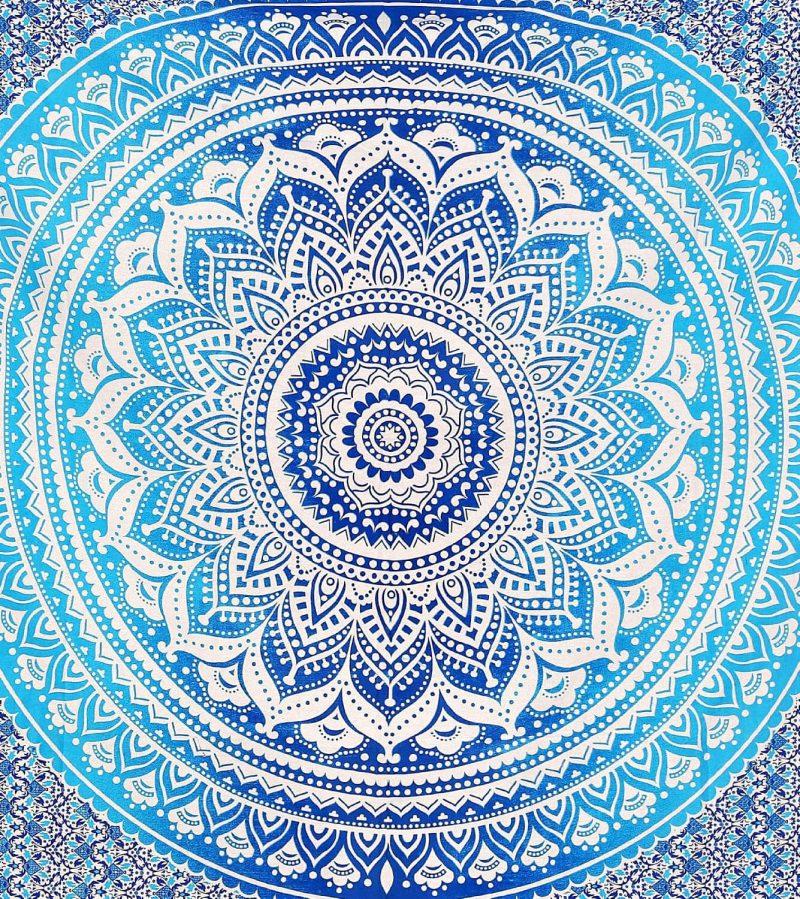 Twin Blue Ombre Hippie Mandala Tapestry | Bohemian Wall hangings-3937
