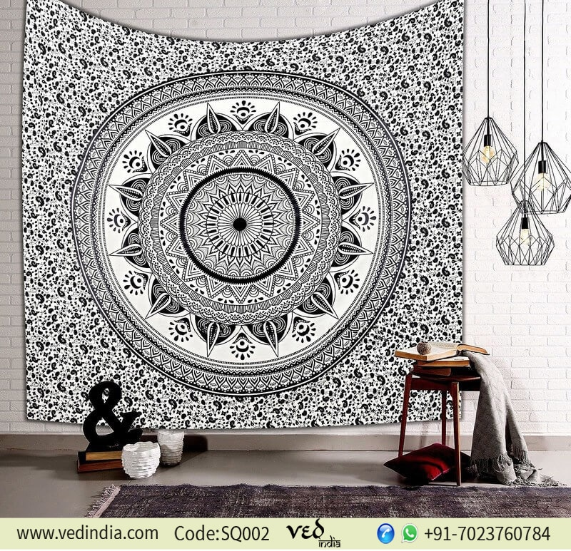 Omber Hippie Bohemian Bedding Tapestry Black and white-0