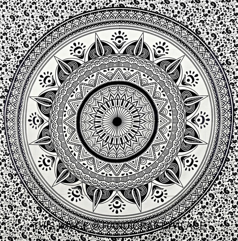 Omber Hippie Bohemian Bedding Tapestry Black and white-3954