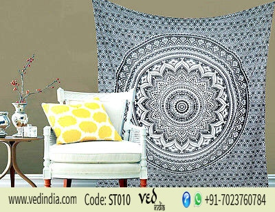 Hippie Trippy Black & White Ombre Mandala Tapestry Bedspread -0