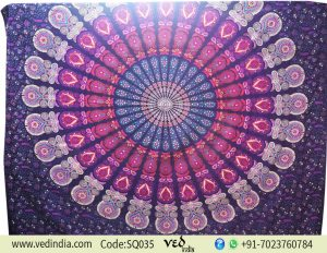 Peacock Boho Mandala Tapestry Bedspread Dorm Decor -0