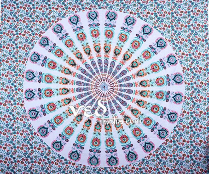 Best Mandala Bed Sheet Tapestry | Peacock Hippie Bedding-3890