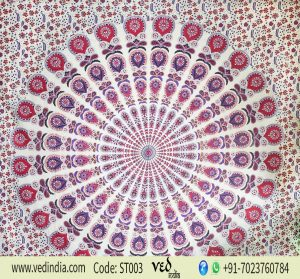 Peacock Hippie Bohemian Mandala Tapestry Twin Bedspread Throw-0