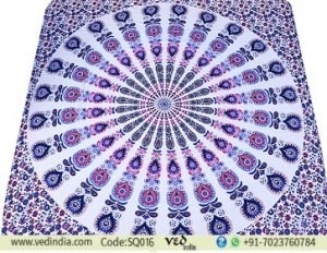 Queen Size Indian Mandala Tapestry Bedding with Peacock Print-0