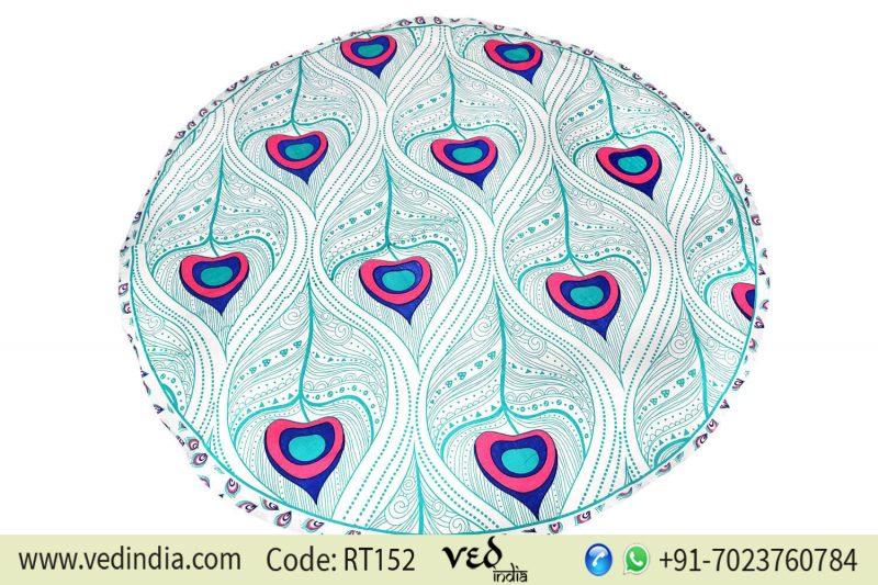 Indian Peacock Roundie Mandala Tapestry Beach Blanket-0
