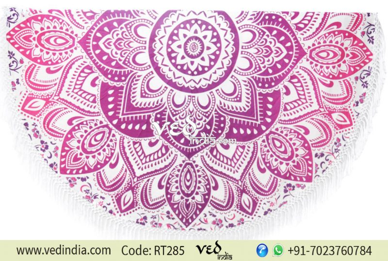 Indian Pink Ombre Mandala Round Tassel Tapestry Beach Throw -0