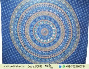 Queen Bohemian Mandala Wall Tapestry With Blue Animal Birds -0