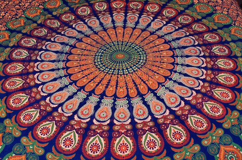 Bohemian Mandala Quilt Cover Bedding Set with Peafowl Design-3971