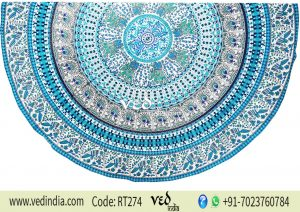 Round Roundie Beach Throw Tapestry Animal With Birds Prints-0