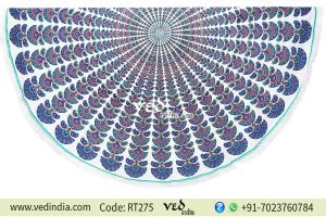 Mandala Round Beach Throw Blue Peacock Tapestry-0