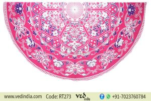 Round Indian Mandala Tapestry Flower Pattern | Best Picnic Blanket-0