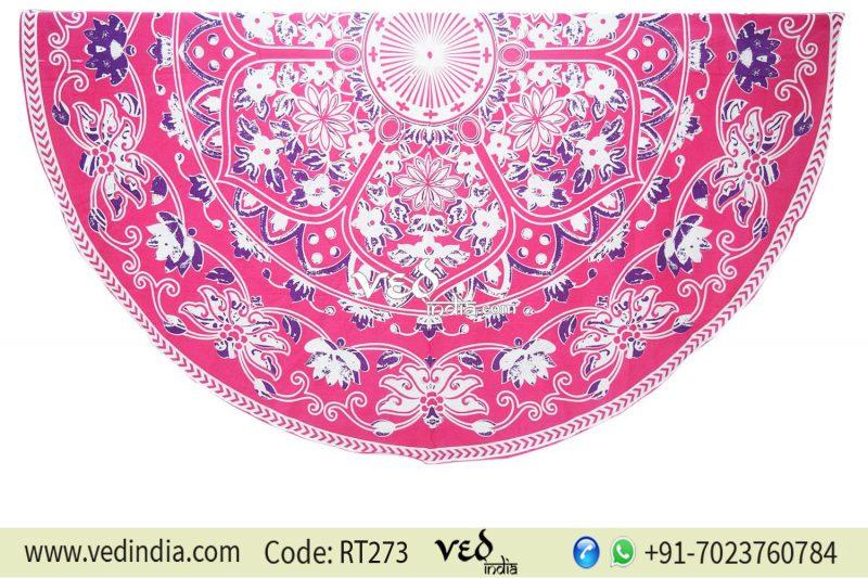 Round Indian Mandala Tapestry Flower Pattern | Best Picnic Blanket-0