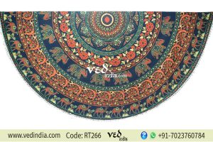 Indian Round Mandala Pom Pom Beach Throw Animal Pattern -0