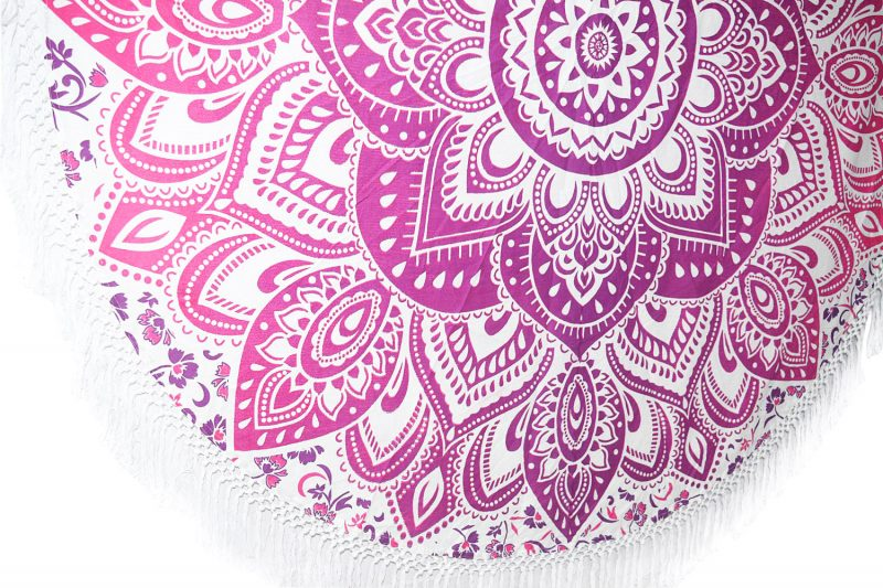 Indian Pink Ombre Mandala Round Tassel Tapestry Beach Throw -3868
